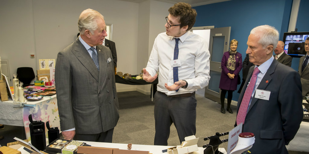 HRH The Prince of Wales talking to young person