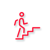 Icon of a person walking up stairs