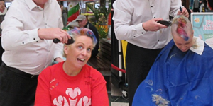 Brenda gets a mohican to raise money for The Prince's Trust