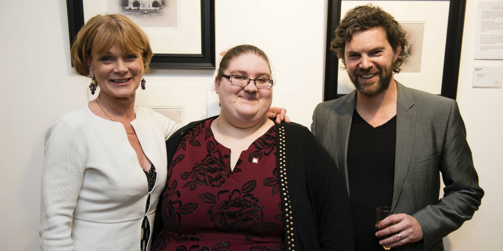 From left to right: Samantha Bond (Ambassador), Natalie Mitchell (Trust-supported young person) and Darren Baker (Artist)
