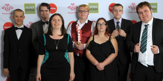 Young people in a group photo at the Prince's Trust Awards
