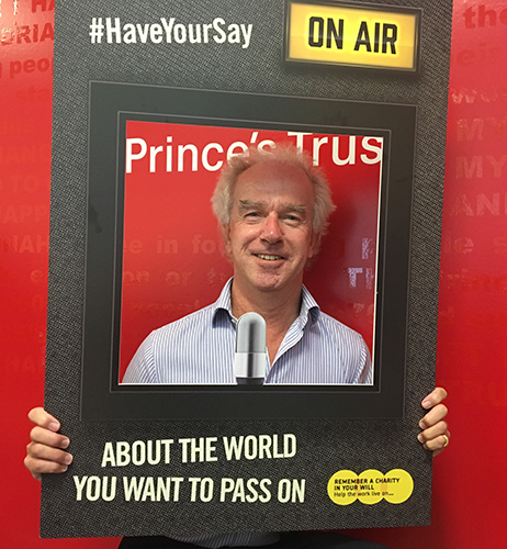Richard Huntingford holding a #HaveYourSay frame