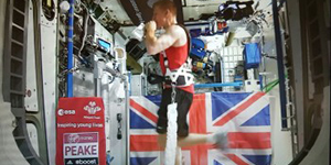 Tim Peake on the treadmill in the ISS