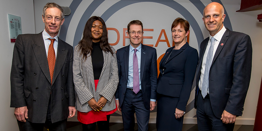 Brendan Cook (HSBC, UK), Tamika Smith (Prince's Trust Young Ambassador), Andy Street (Mayor of the West Midlands), Michele Farmer (Director of Central England at The Prince's Trust) and Nick Stace (Prince's Trust CEO)