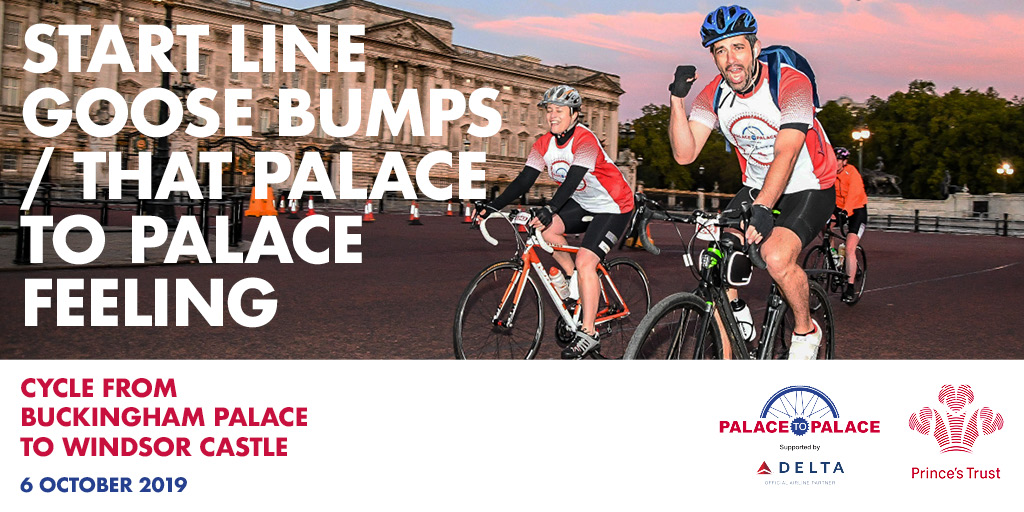 Start line goose bumps at Palace to Palace with cyclists outside Buckingham Palace