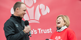 Chris Froome with Emma B in front of Prince's Trust logo