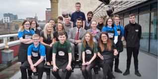 Humza Yousaf MSP with young people