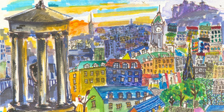 Young person's painting of Calton Hill, Edinburgh