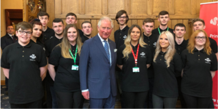 HRH The Prince of Wales with young people from Team in Wigan