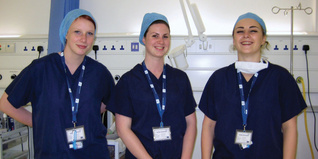 Group of three medical staff in their medical scrubs