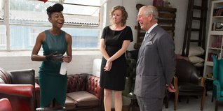 HRH The Prince of Wales talks to young entrepreneur Demi Owoseje