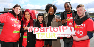 Jamelia with young people on the Prince's Trust #partofPT Tour