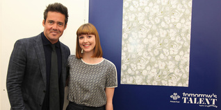 Jessica Mahy poses for a photo with Spencer Matthews and her winning design