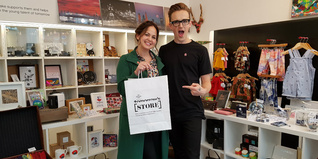 Tom and Giovanna Fletcher in Prince's Trust Tomorrow Store Liverpool Street London