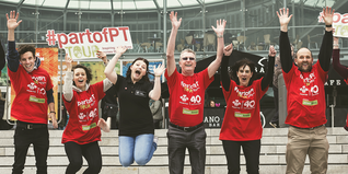Prince's Trust staff and volunteers jump for joy