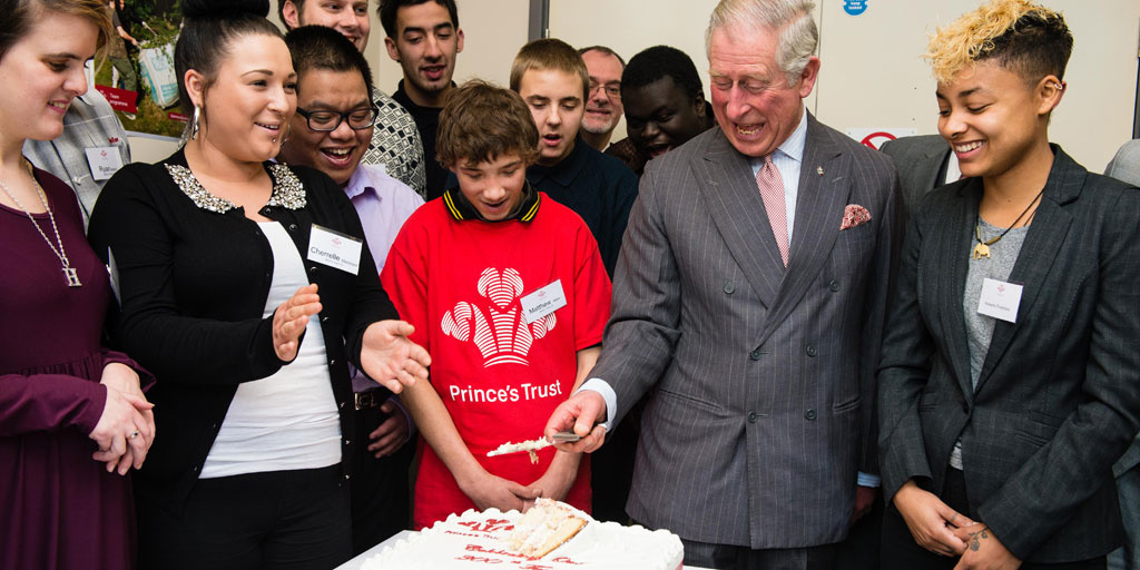 HRH with young people at South Thames College