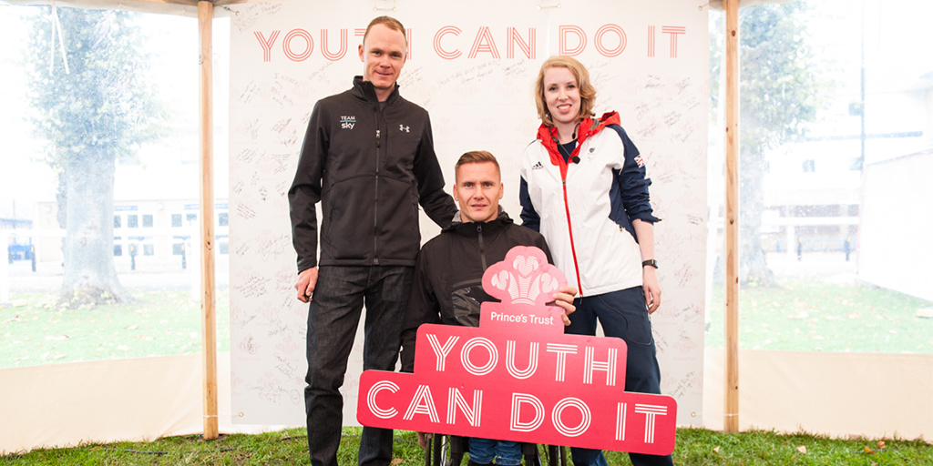 Chris Froome with David Weir and Georgie Bullen