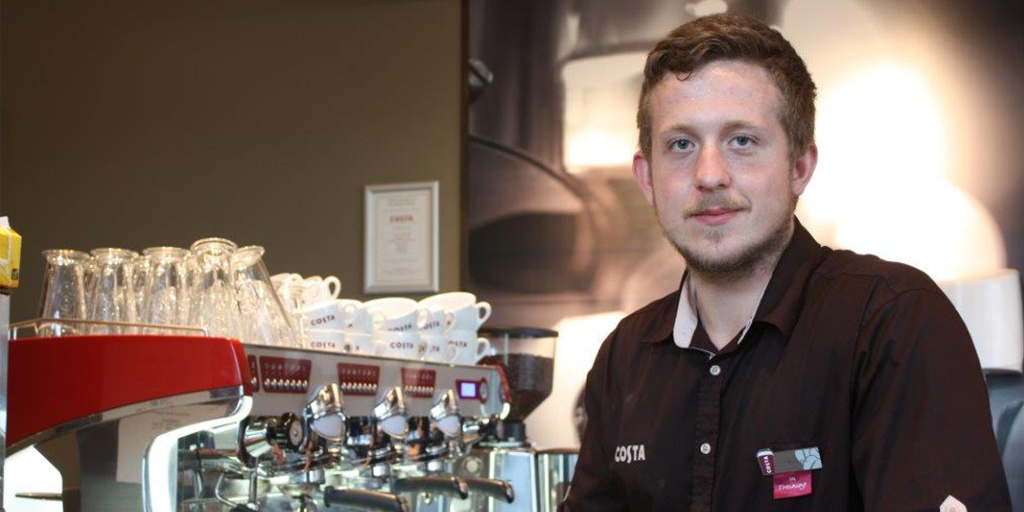 Jared Kirby turned his life around and now works with Costa Coffee