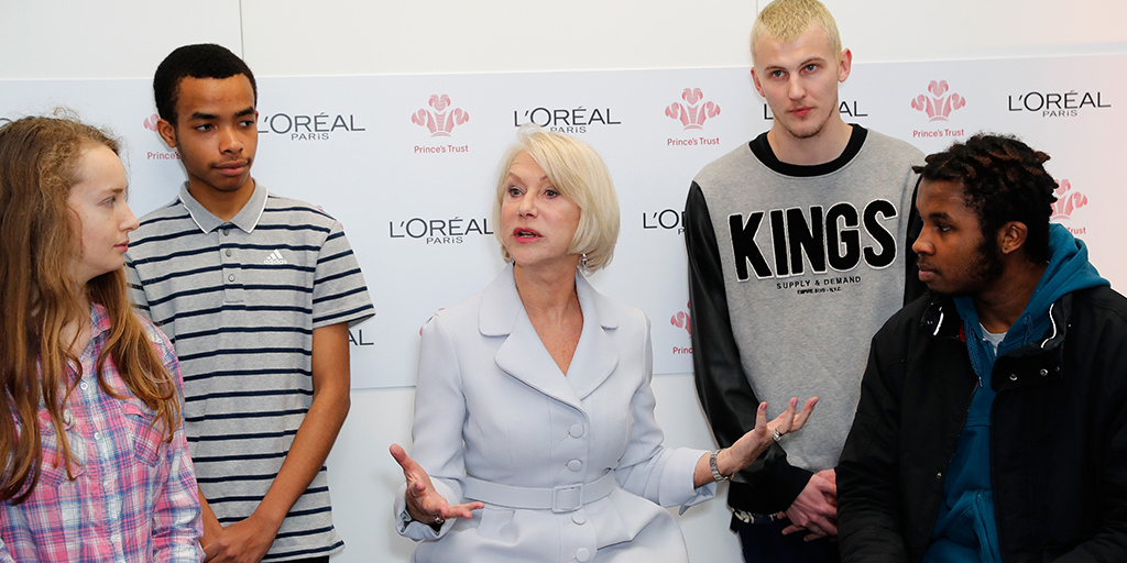 Dame Helen Mirren with young people at Kennington event