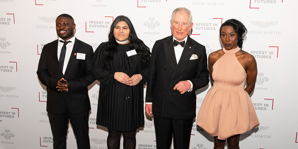 Young Ambassadors Gideon and Aisa with HRH The Prince of Wales and performer Laura Mvula