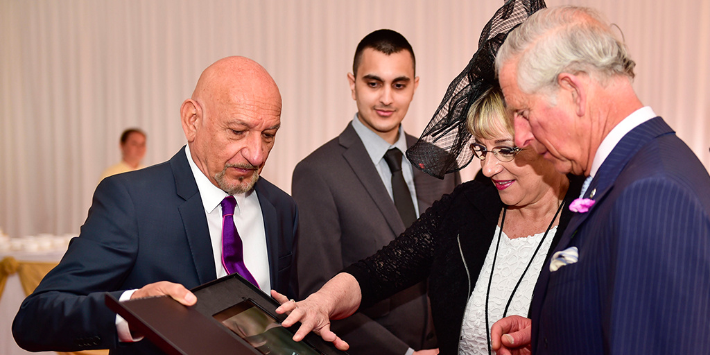 Sir Ben Kingsley with Martina Milburn and HRH The Prince of Wales