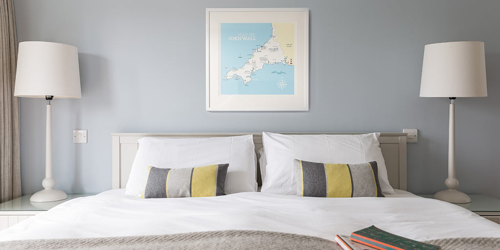 Whistlefish map above bed