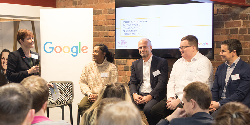 Google.org and Prince's Trust partnership panel speakers at Birmingham Centre