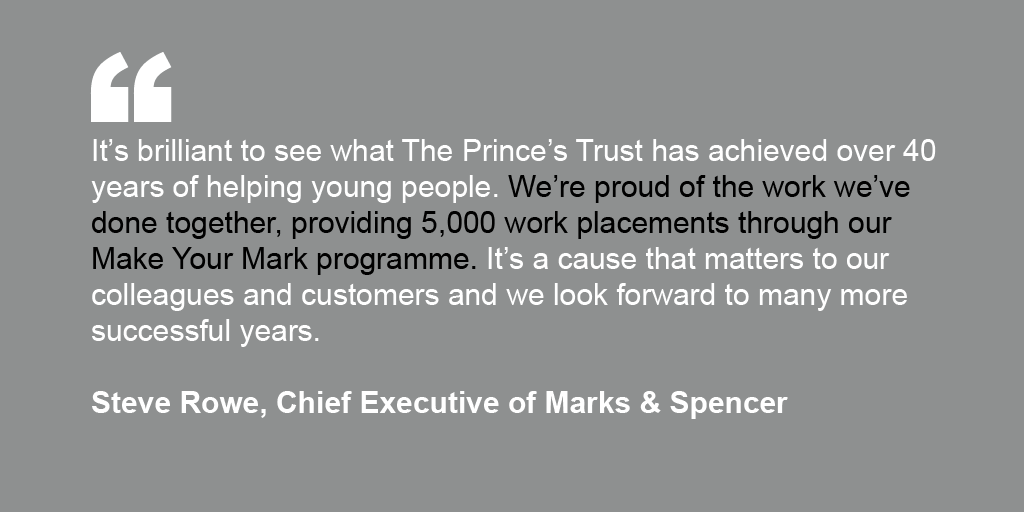 Steve Rowe's endorsement for The Prince's Trust