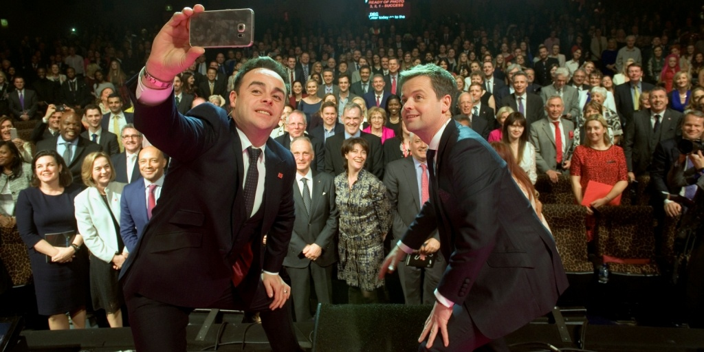 Ant and Dec take a selfie with the audience at Celebrate Success 2015
