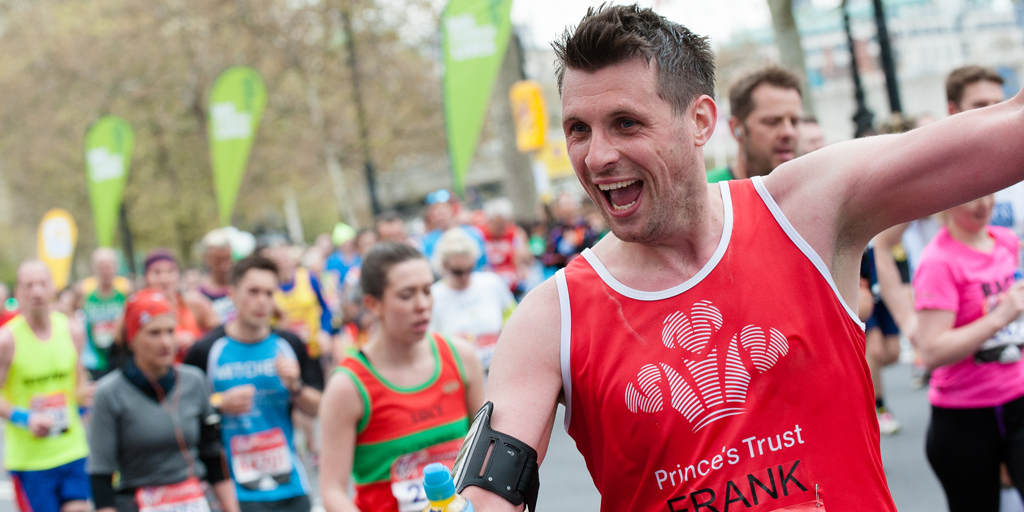 Man taking part in the London Marathon for The Prince's Trust
