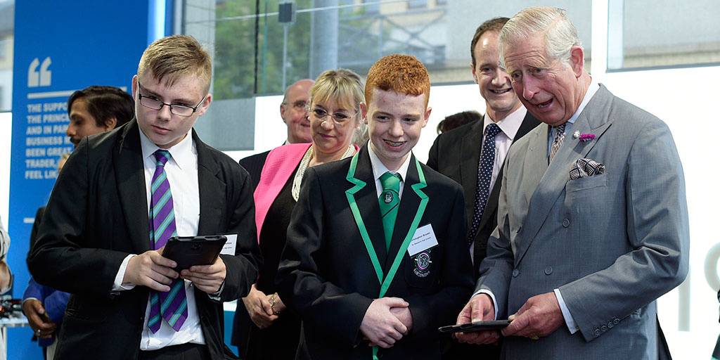 HRH The Duke of Rothesay joined some of our young people to try out the Samsung tablets in the Samsung Digital Classroom