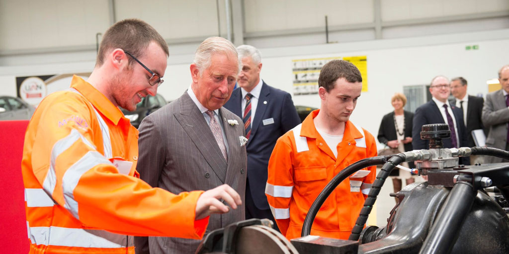 HRH The Prince of Wales meets young people on the Get into Car Mechanics course in Scotland