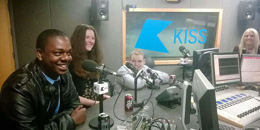 Young people at Kiss FM in London