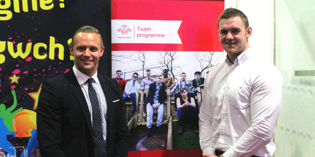 Lee Trundle and Dan Lydiate at the 150th Team celebration in Neath, Port Talbot