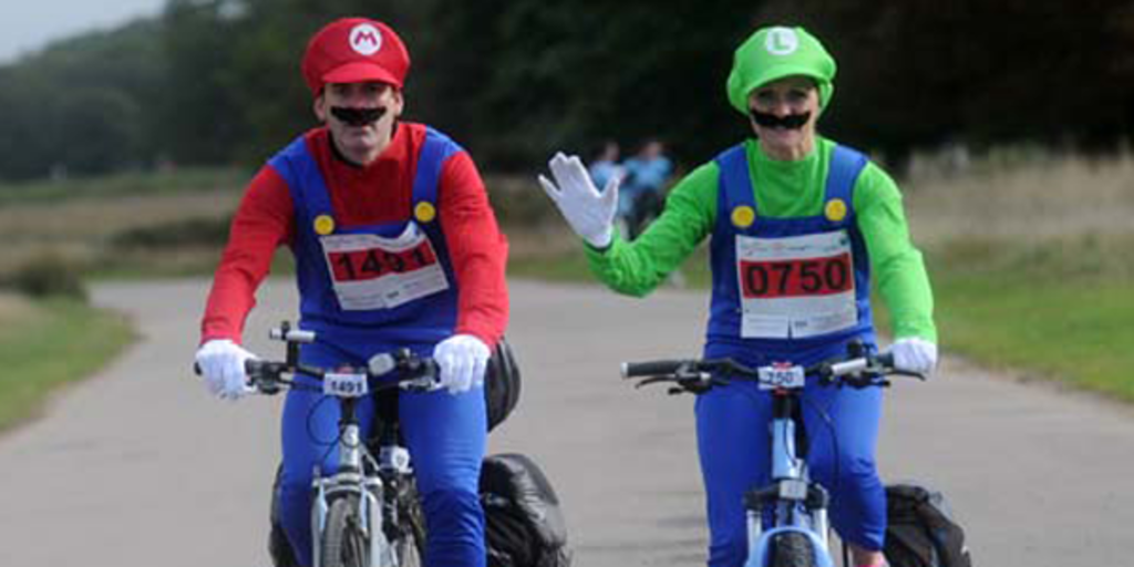 Cyclists in fancy dress