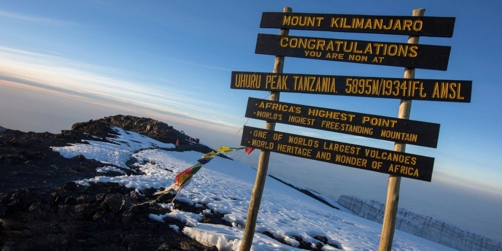 Mount Kilimanjaro Trek congratulating signage for reaching the top of the mountain
