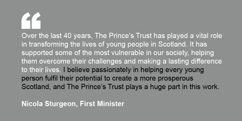 First Minister Nicola Sturgeon's endorsement for The Prince's Trust