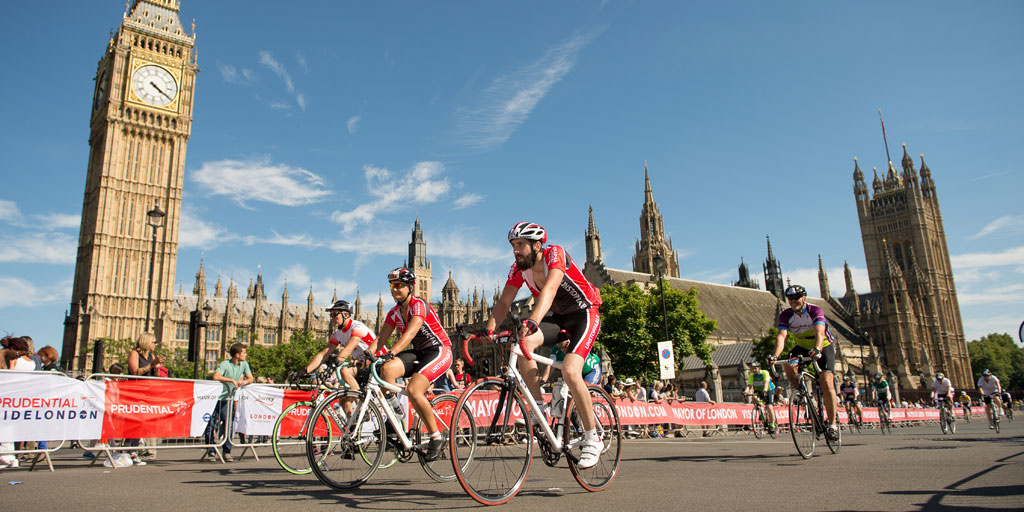 RideLondon cyclists at Westminster. Photo by Thomas Lovelock for Prudential RideLondon
