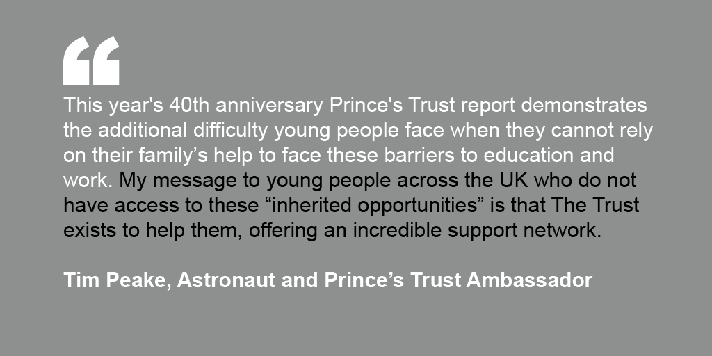 Tim Peake's endorsement for The Prince's Trust