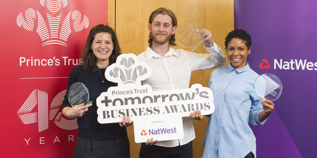 Tomorrow's Business Award Winners Eleanor O'Neill, Tom Jones and Francesca Brown