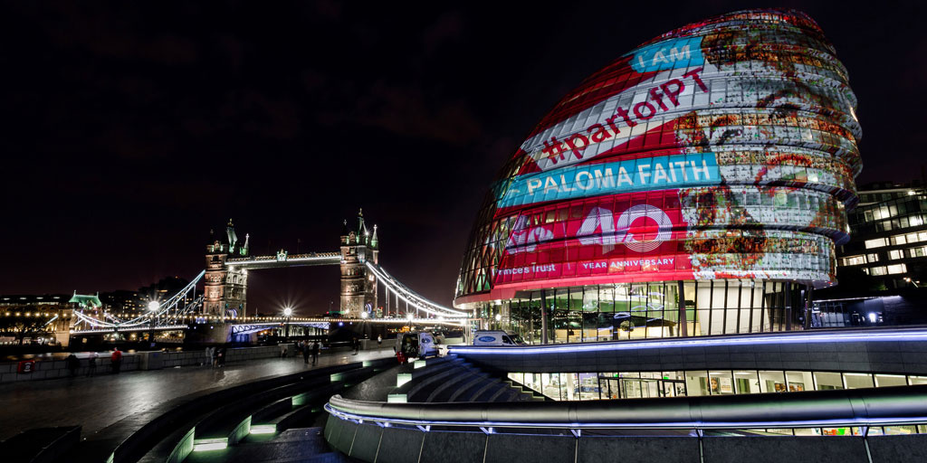 Paloma Faith's portrait by Nathan Wyburn projected onto London's City Hall