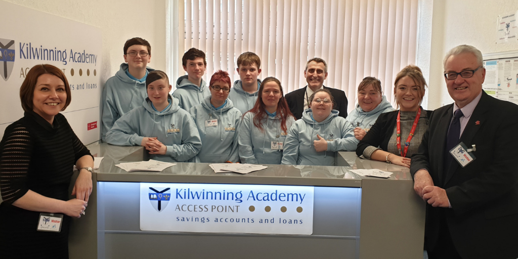 Pupils at project partners at Kilwinning Academy's Credit Union facility